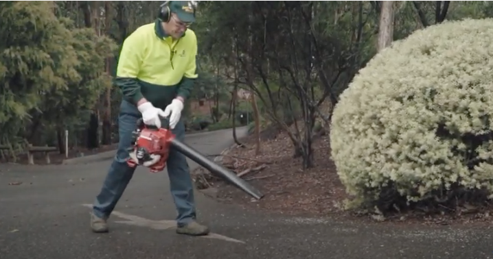 Mike from Jim's Mowing show you how to use a leaf blower like a professional